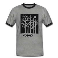 t-shirt 'fox in the moonlight' (cotton / polyester mix) - heather grey/black