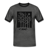t-shirt 'fox in the moonlight' (cotton / polyester mix) - charcoal/black