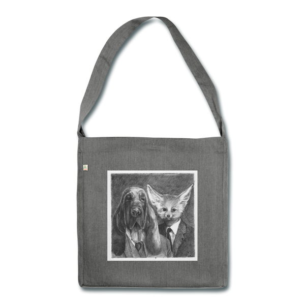 shoulder bag 'dog suits' - made from 100% recycled materials - dark grey heather
