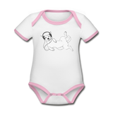 bodysuit 'idle dog' (organic cotton, sizes 0-24 months) - white/rose