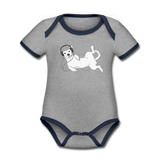 bodysuit 'idle dog' (organic cotton, sizes 0-24 months) - heather grey/navy