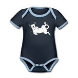 bodysuit 'idle dog' (organic cotton, sizes 0-24 months) - navy/sky