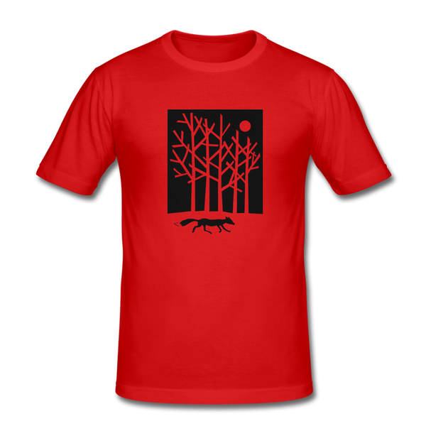 formftting t-shirt FOX IN THE MOONLIGHT - red