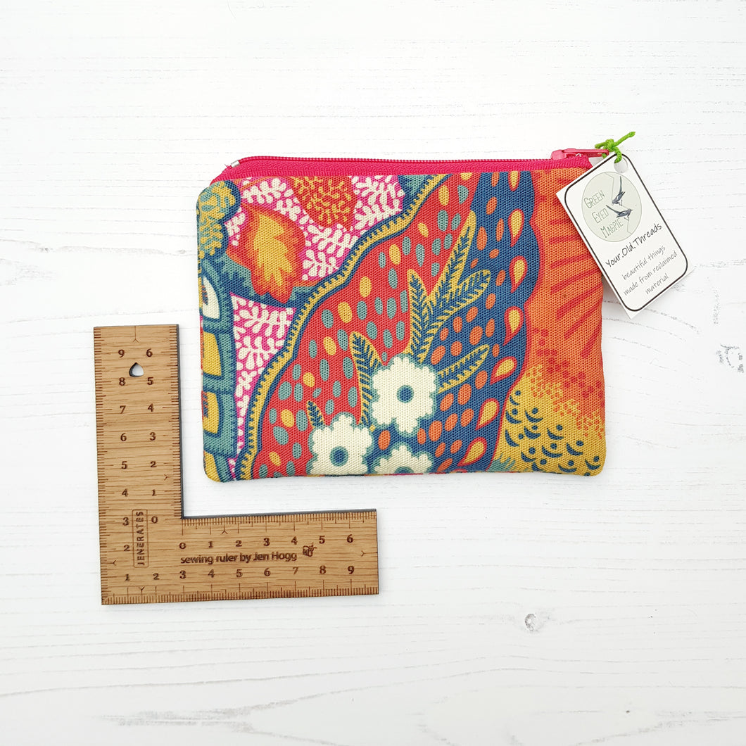 Zip Purse - one off, reclaimed fabric