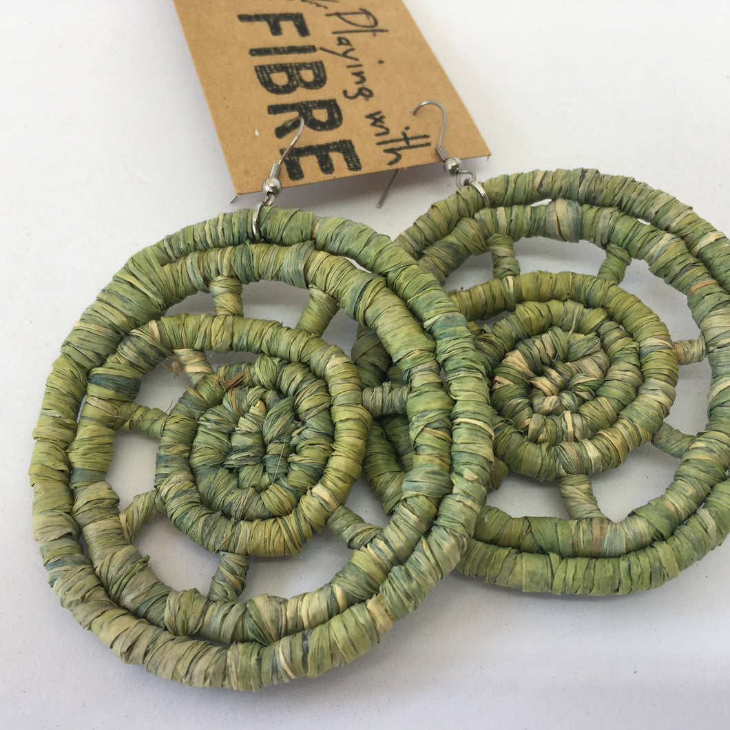 Large Raffia Earrings-  Green
