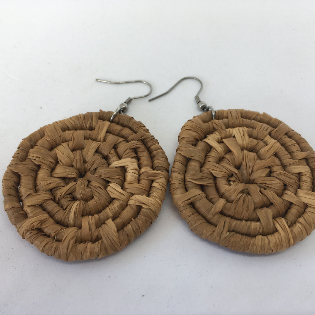 Medium Raffia Earrings- brown