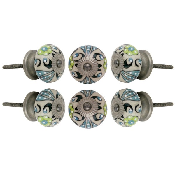 Set of Six Ceramic Talid Round Knob Multipack