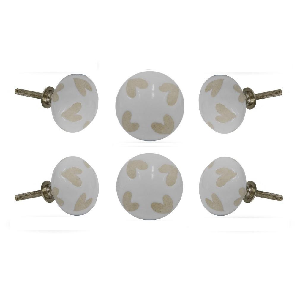 Set of Six Love Out Ceramic Round Knob Multipack