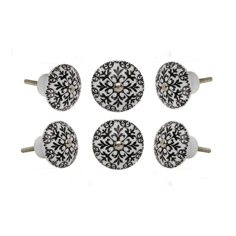 Set of Six Ceramic Morocco Round Knob Multipack