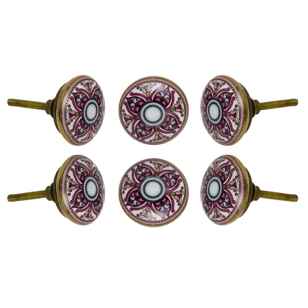 Set of Six Ceramic Cairo Round Knob Multipack