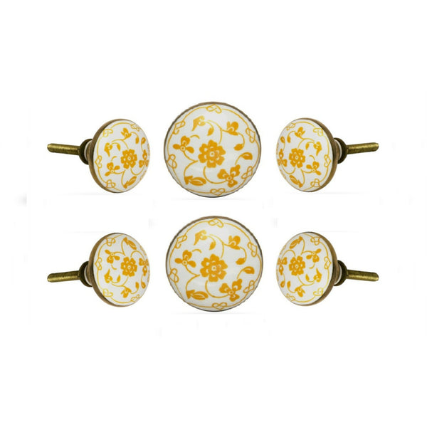 Set of Six Ceramic Dance Round Talid Knobs Multipack