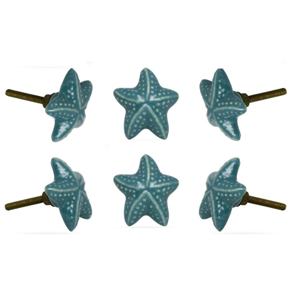 Set of Six Ceramic-Starfish Knobs in Turquoise