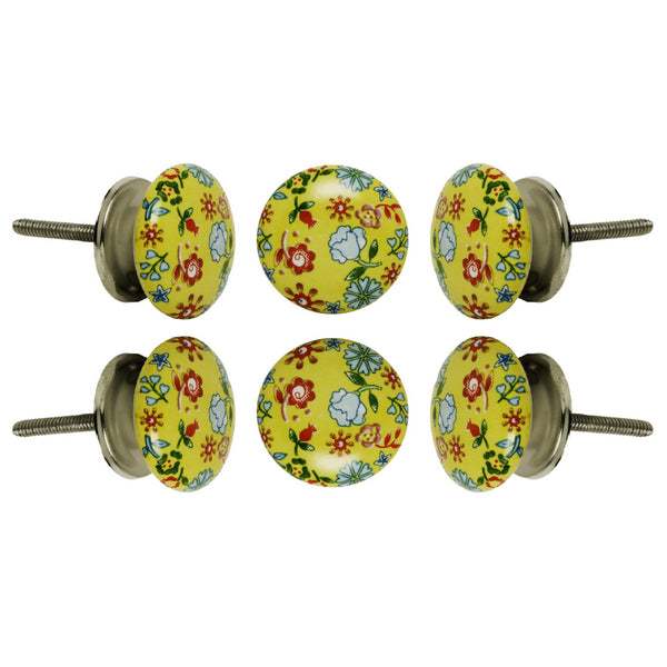 Set of Six Ceramic Field Round Knob Multipack