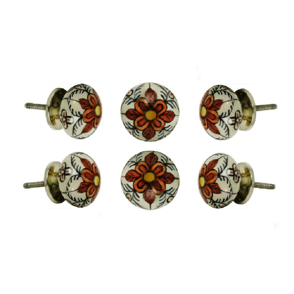 Set of Six Ceramic Gypsy Flower Cupboard Round Knob Multipack