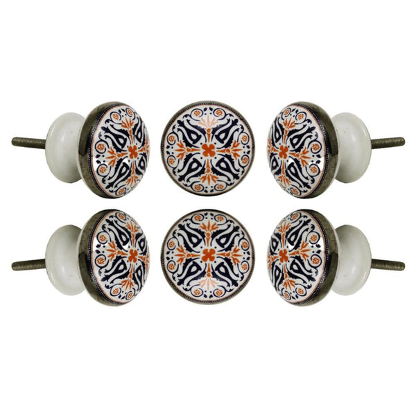 Set of Six Ceramic Tangier Cabinet Round Knob Multipack