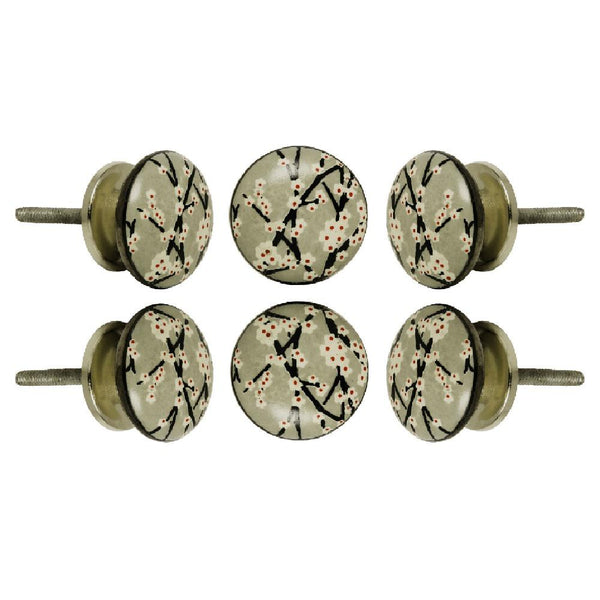 Set of Six Ceramic Amin Cabinet Round Knob Multipack