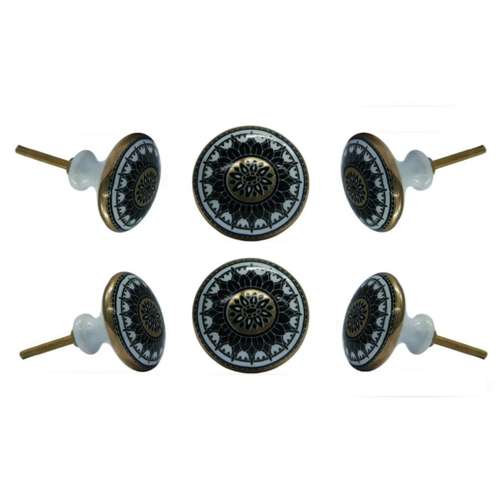 Set of Six Ceramic Jamil Round Knob Multipack