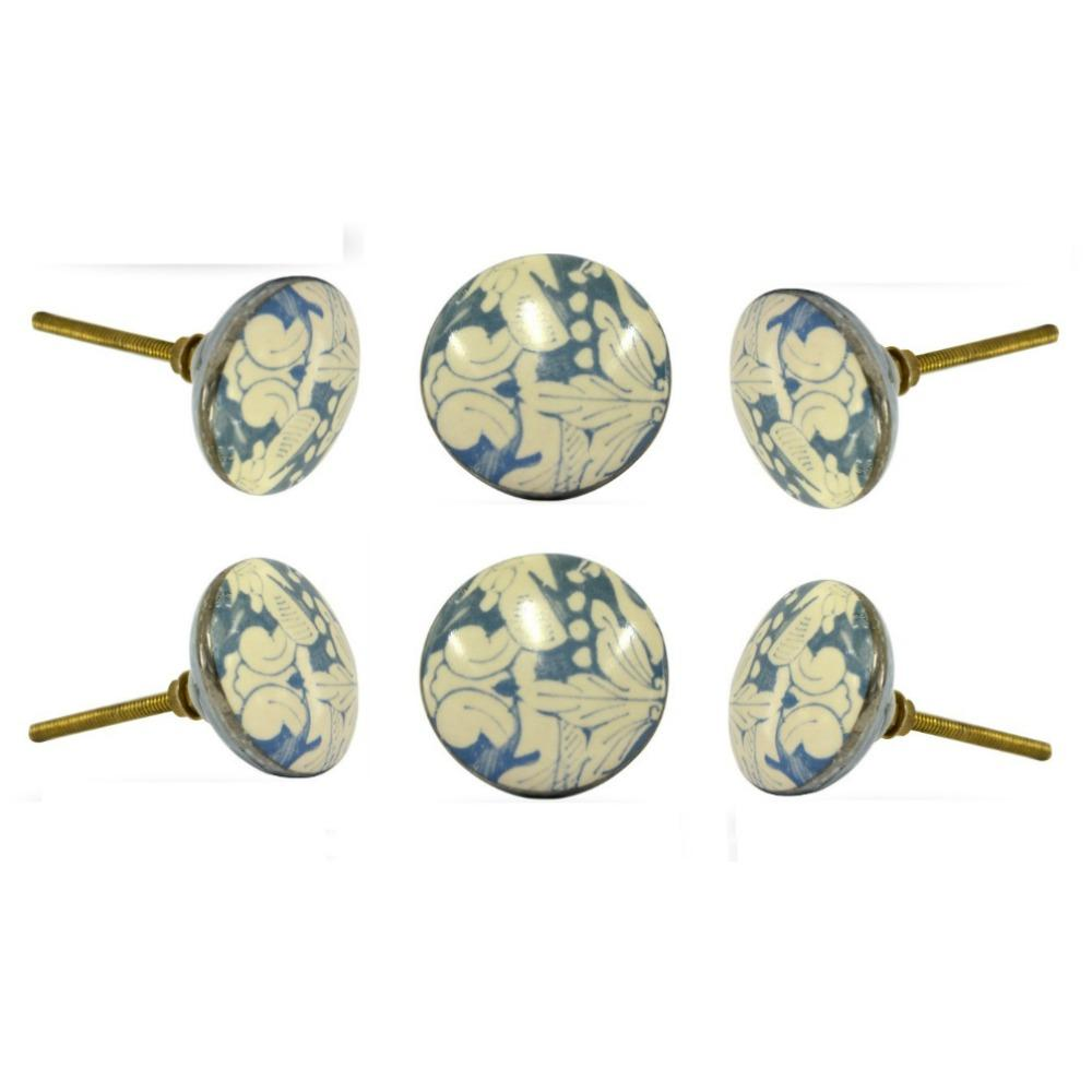 Set of Six Ceramic Saint Nicolas Round Knob Multipack
