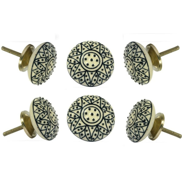 Set of Six Ceramic Cliftonville Knob