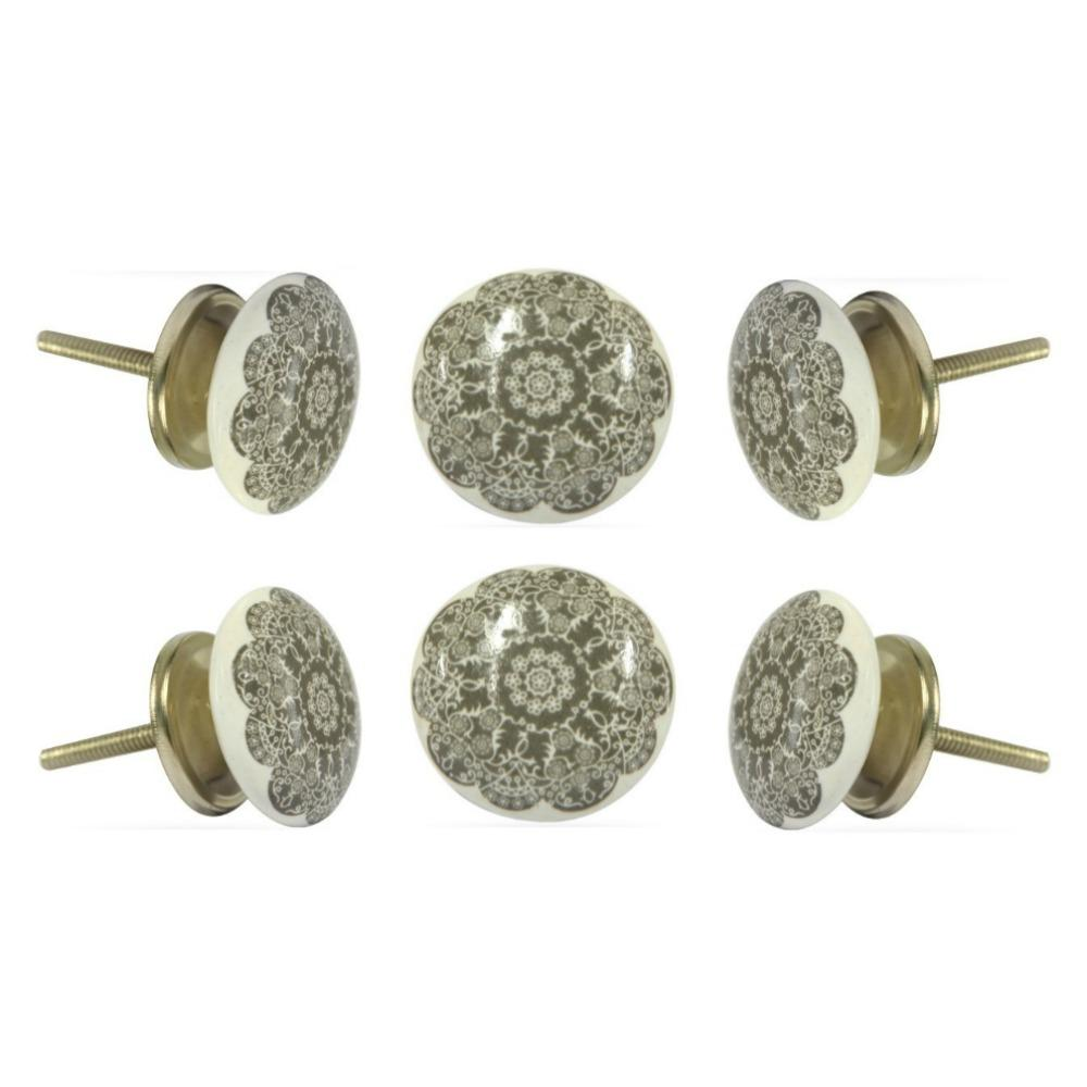 Set of Six Ceramic Solden Round Knob Multipack