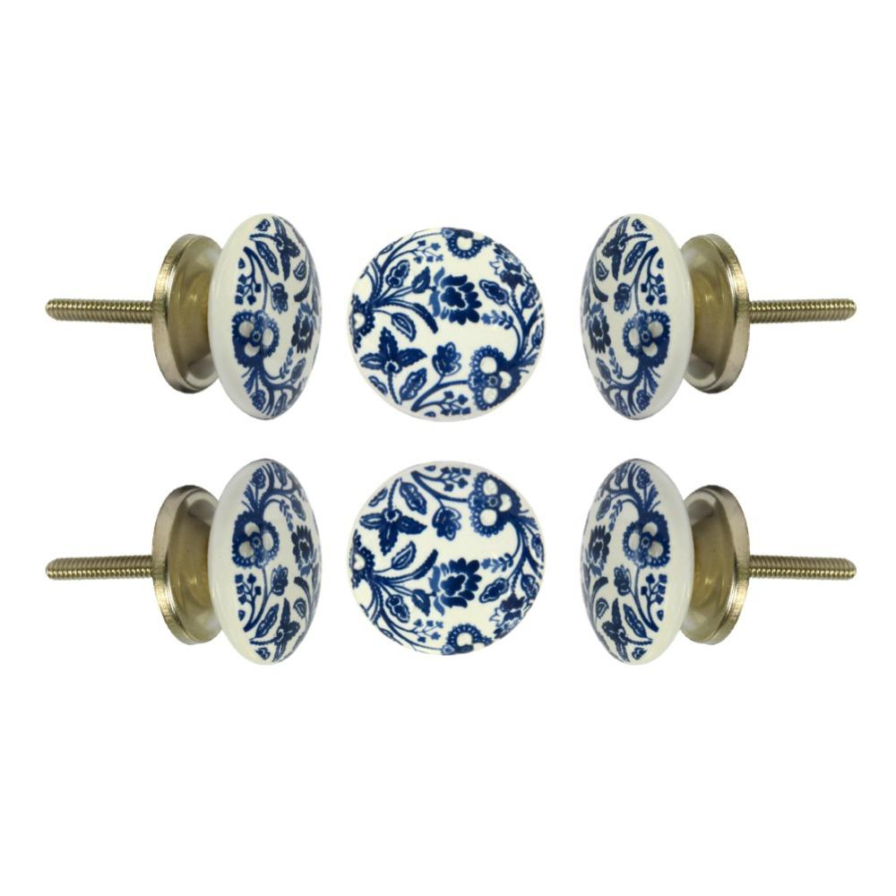 Set of Six Ceramic Beckenham Round Knob Multipack