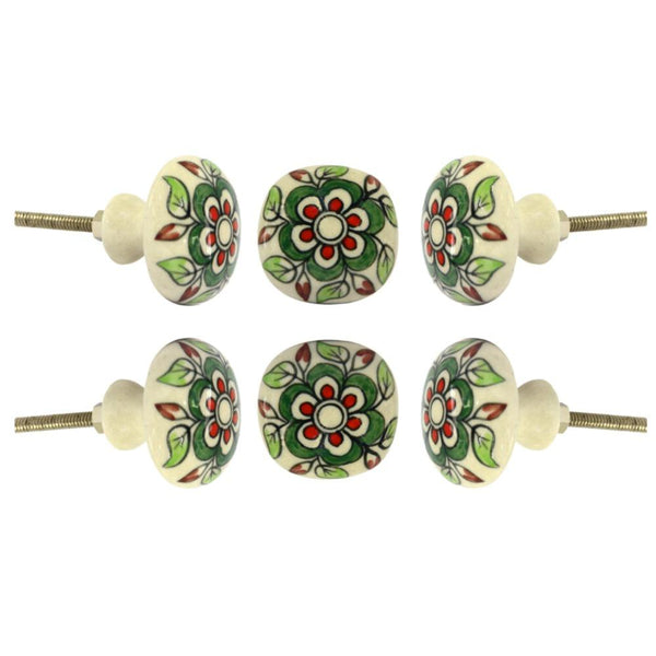 Set of Six Ceramic Escorial Cupboard Novelty Knob Multipack