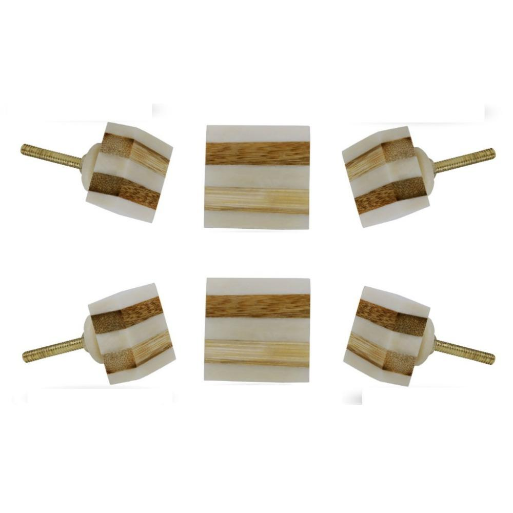 Set of Six Striped Bone Square Knob Multipack