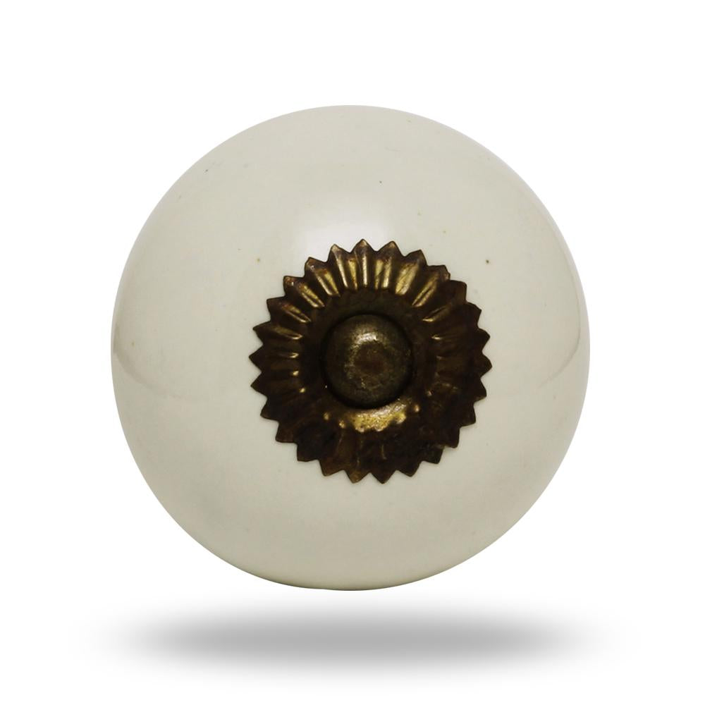 Set of Six Big Ceramic Tomato Knobs Cream Antique Finish