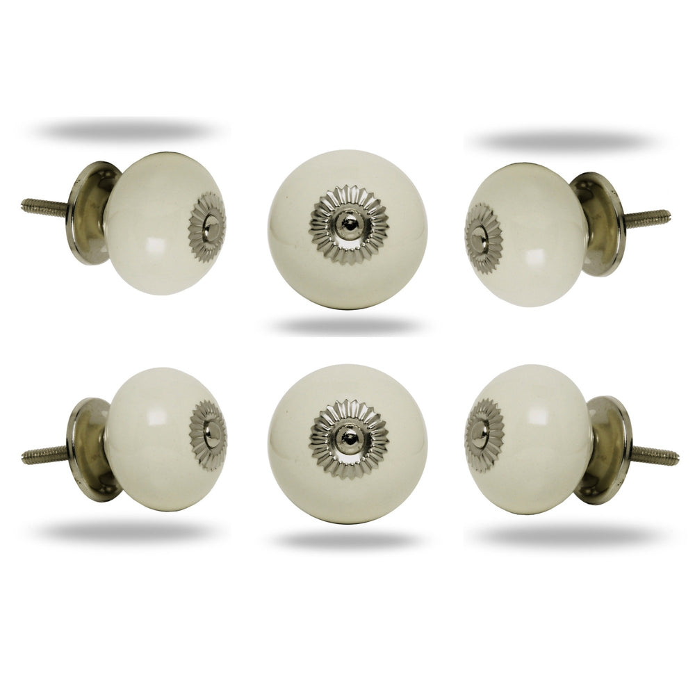 Set of Six Big Ceramic Tomato Knob Cream Chrome Finish