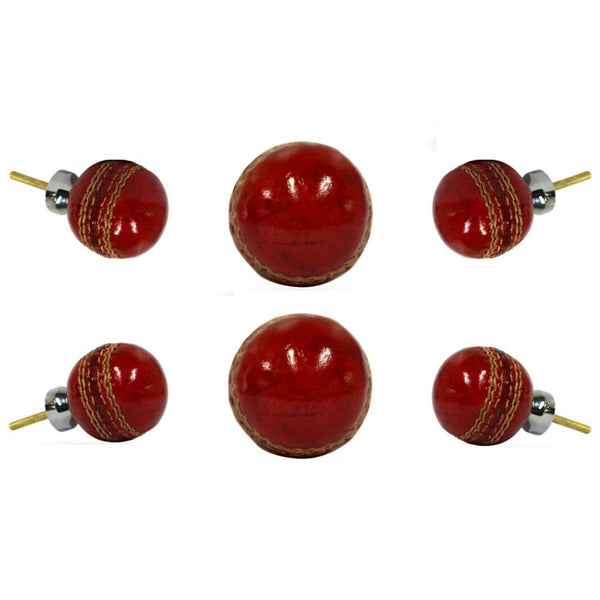 Set of Six Leather Cricket Ball Knobs Large