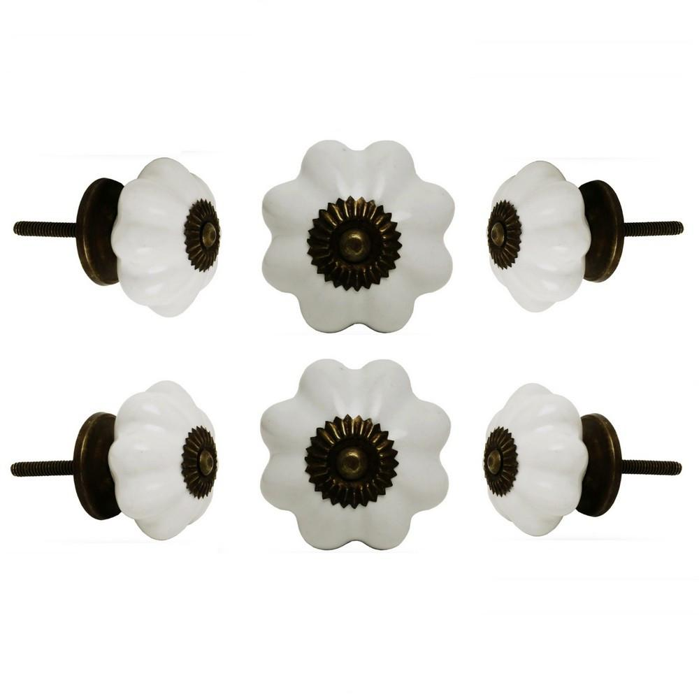 Set of Six Ceramic Melon Knobs Big Off White Antique Finish