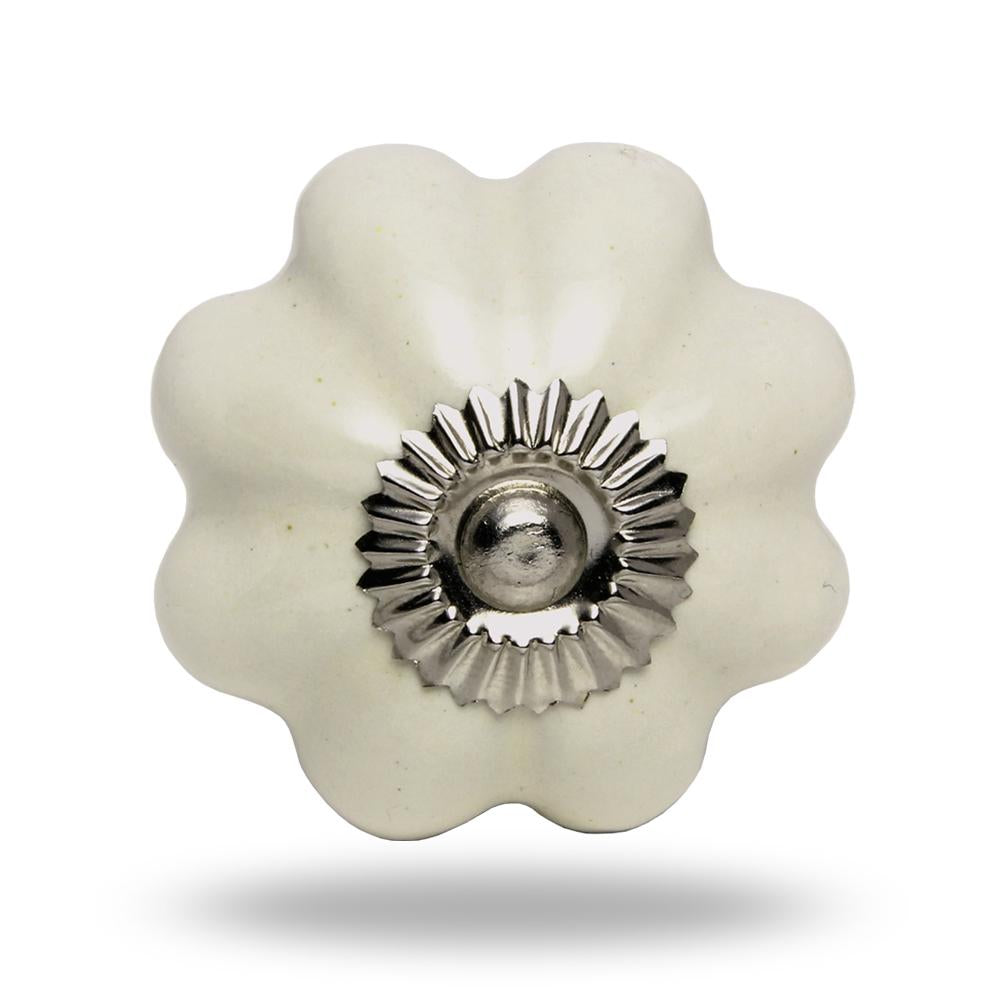 Set of Six Ceramic Melon Knob Big Off White Chrome Finish