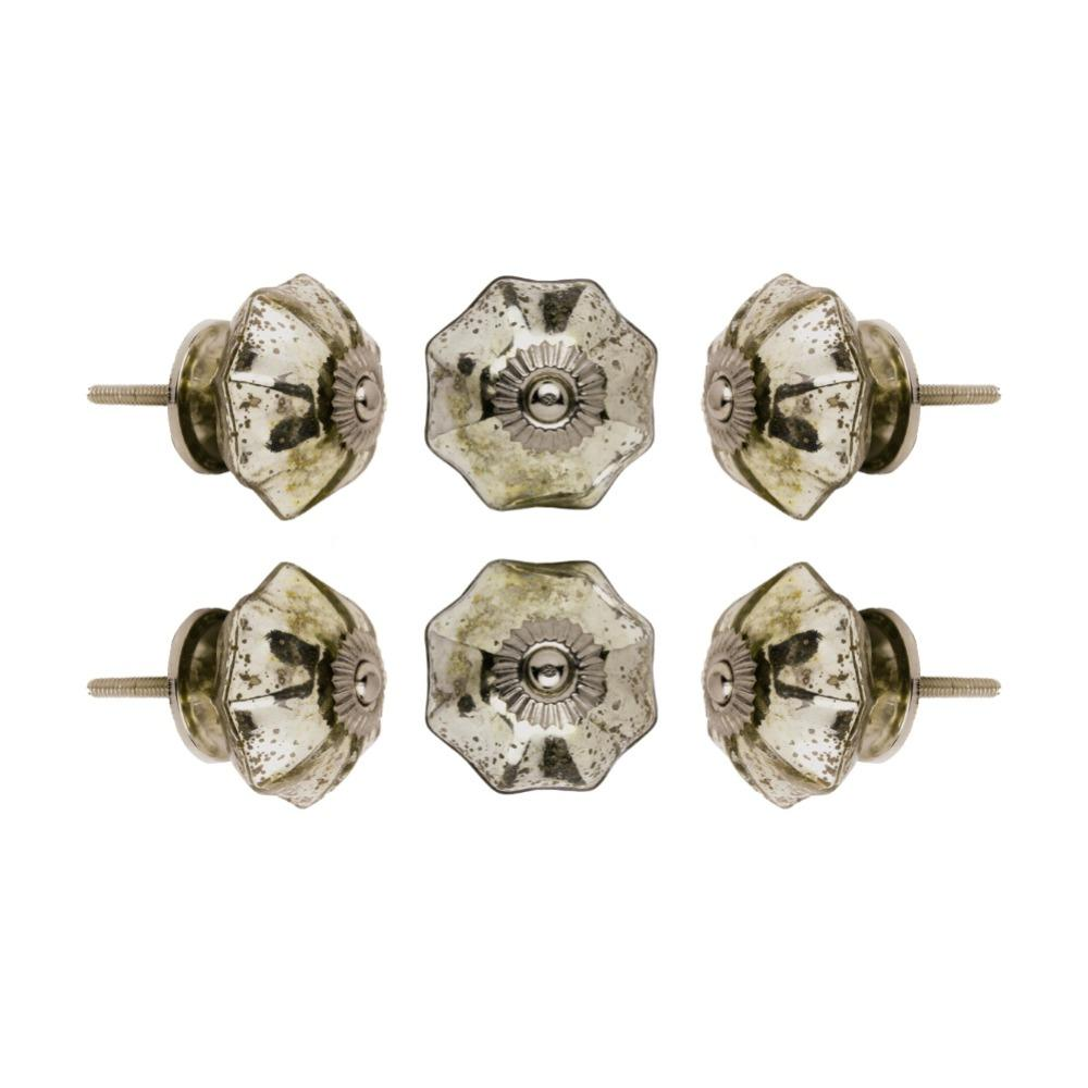 Set of Six Glass Mirror Melon Cupboard Round Knob Multipack