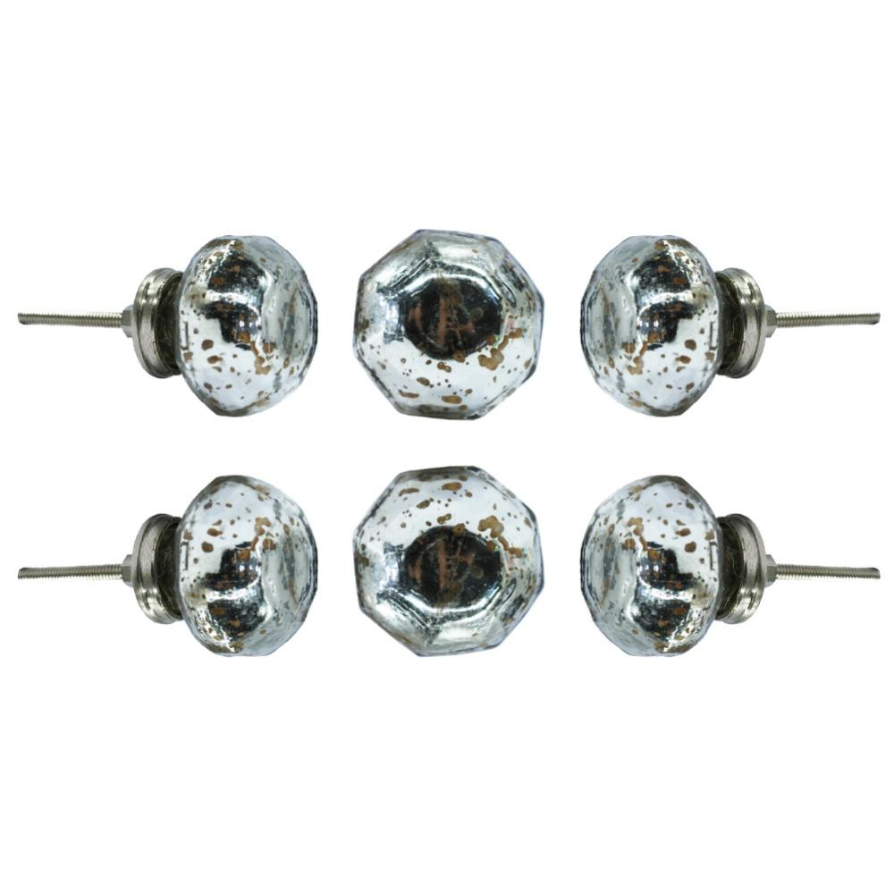 Set of Six Dorsoduro Mirror Glass Dresser Round Knob Multipack