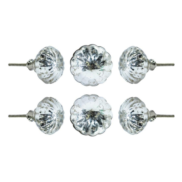 Set of Six Gludeca Mirror Glass Cupboard Round Knob Multipack