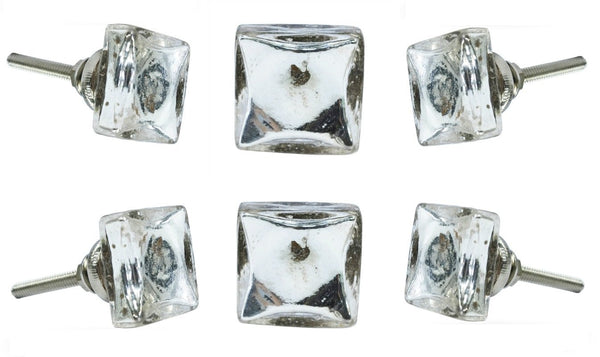 Set of Six Isola Mirror Glass Cabinet Square Knob Multipack / Finish: Silver