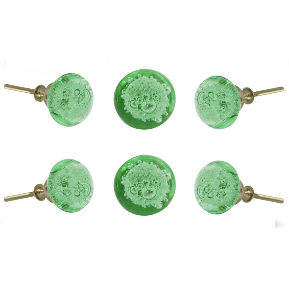 Set of Six Glass Jones Cupboard Round Knob Multipack / Finish: Light Green
