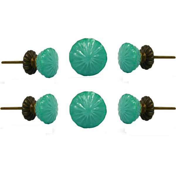 Set of Six Turquoise Milk Glass Fanfare Knobs with Brass Base Plate
