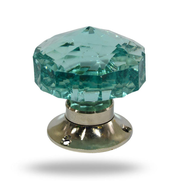 Cut Glass Mortice Knobs Turquoise
