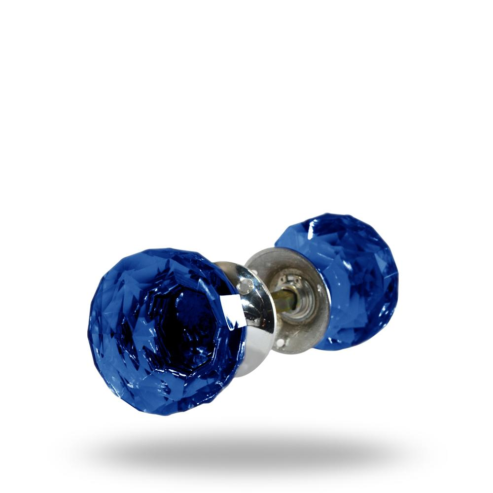 Cut Glass Mortice Knobs Dark Blue