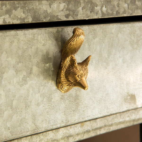 Set of Six Brass Fox Knobs