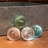 Set of Six Ribbed Glass Round Knob Multipack / Finish: Green