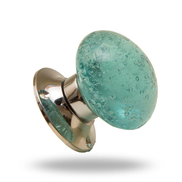Bubble Glass Mortice Knobs Turquoise