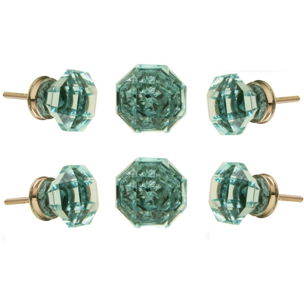 Set of 6 Kember Turquoise Glass Knobs