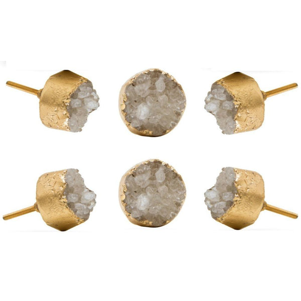 Set of Six Rhodes Crystal Round Knob Multipack