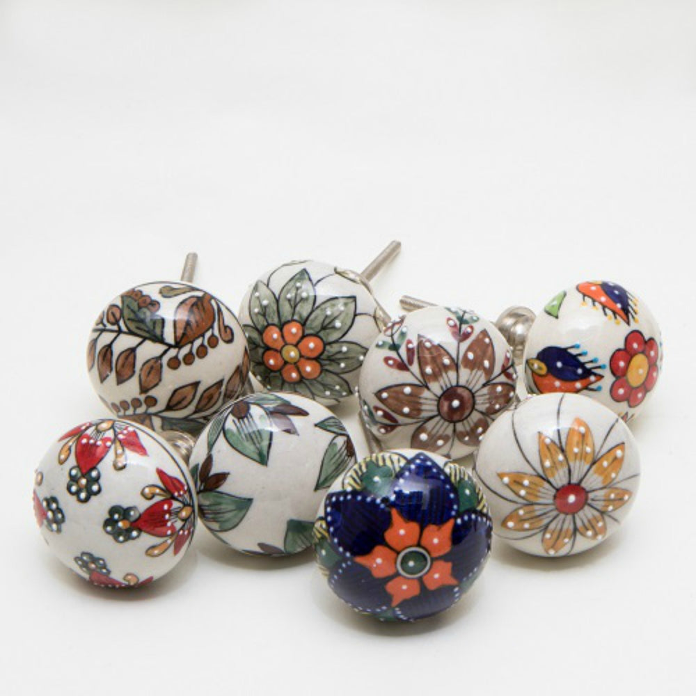 Set of 8 Big Beauty Ceramic Knobs