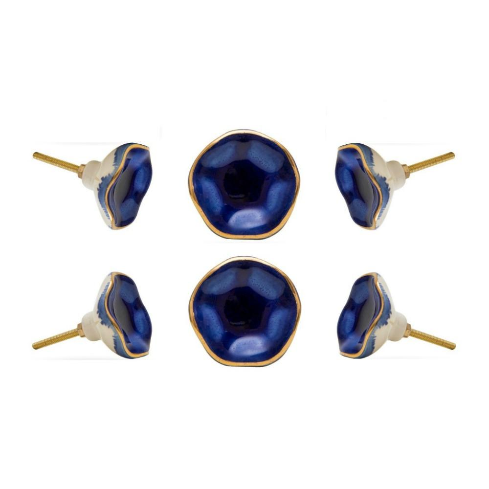 Set of Six Ceramic Jordan Novelty Knob Multipack / Finish: Dark Blue/Golden
