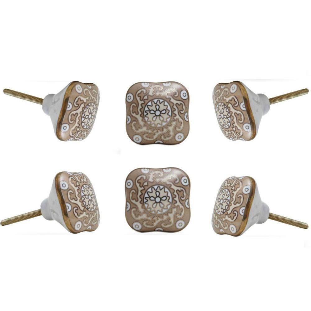 Set of Six Amgel Square Ceramic Knobs