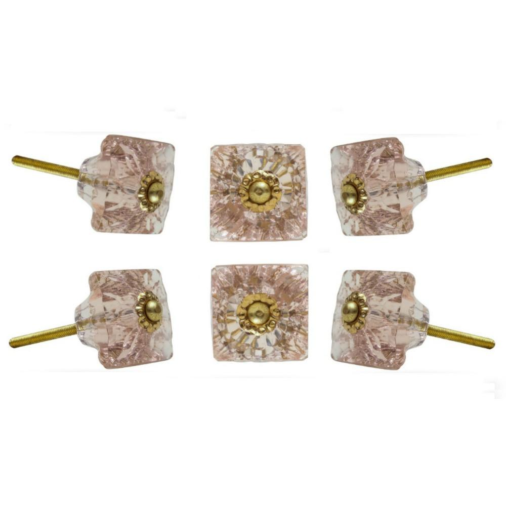 Set of Six Mammounia Glass Square Knob Multipack / Finish: Light Pink