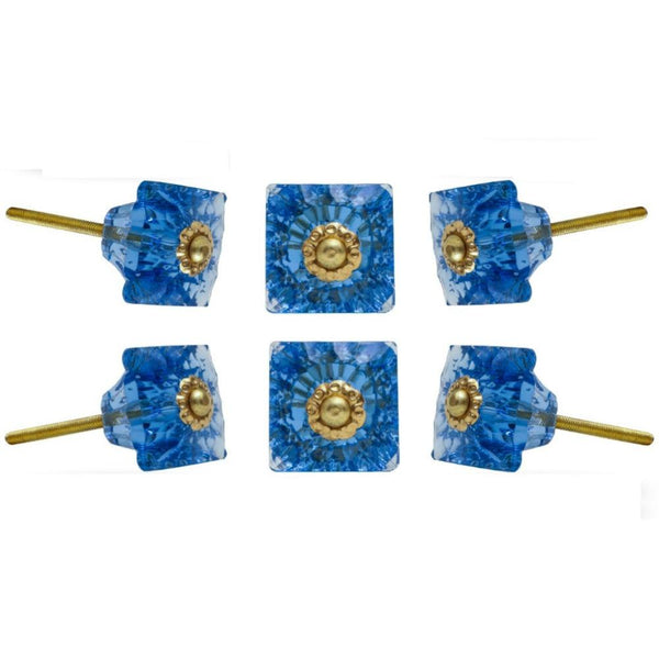 Set of Six Mammounia Glass Square Knob Multipack / Finish: Dodger Blue